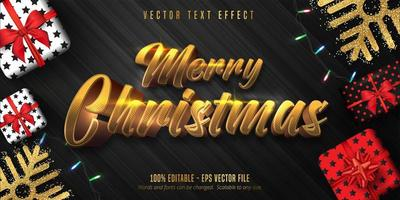 Merry Christmas shiny gold text poster vector
