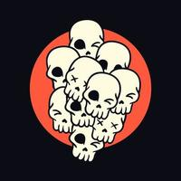Pile of cartoon skulls hand drawn t-shirt design