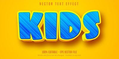 Kids blue bold cartoon editable text effect vector