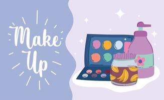 Make-up and beauty products banner with lettering vector