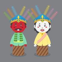 Ondel Ondel Jakarta Traditional Puppet vector