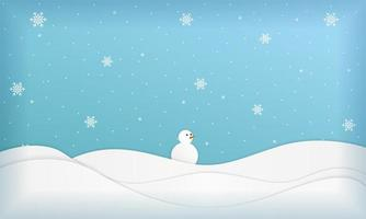 Winter Landscape with Snowman in Paper Cut Style vector