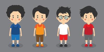 Little Kids Friendly Character Set vector