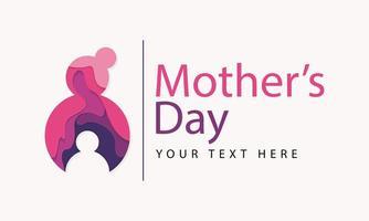 día de la madre corte de papel diseño de silueta de madre e hijo vector