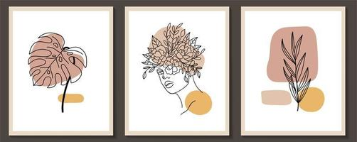 Set of woman face and flowers continuous line art posters vector