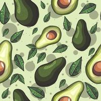 Green seamless pattern with avocado fruits and leaves