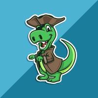 mascote pirata t-rex vetor