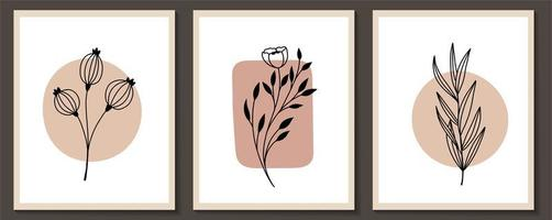 Set of continuous line, modern art flowers vector