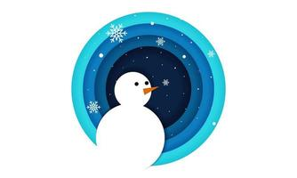 Snowman in Circle Frame with Paper Cut Style vector