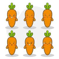 Set of Cute Carrot Characters