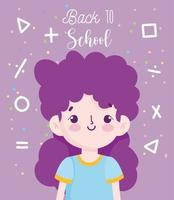 Back to school poster with student girl vector