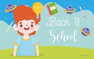 banner de regreso a la escuela con niño estudiante vector