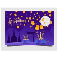 Loy Krathong festival design with lanterns on purple vector