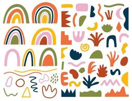conjunto de dibujados a mano varias formas y garabatos