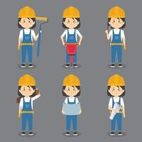 Female Construction Workers Doing Various Activities