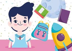 Back to school banner with student boy