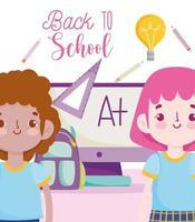 cartel de regreso a la escuela con estudiantes y materiales. vector