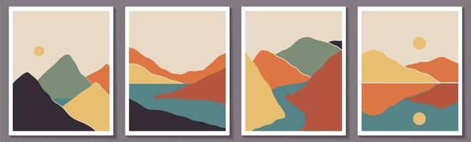 Trendy minimalist abstract landscape set vector