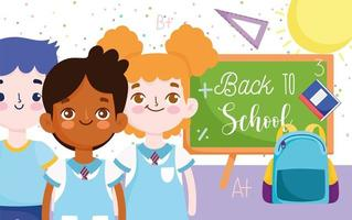 Back to school banner with students and materials