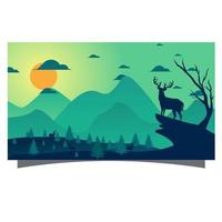 Landscape scene with mountains and deer vector