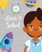 Back to school poster with student boy