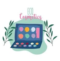 Eco make-up and beauty products banner with lettering vector