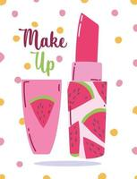 Make-up and beauty product watermelon lipstick vector