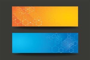 Modern hexagon line gradient banner set vector