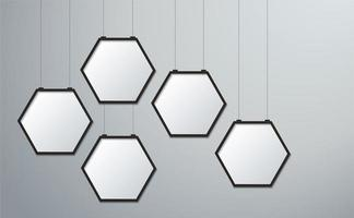 Hanging hexagon frame picture set vector