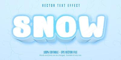 Snow cartoon game style editable text effect vector