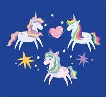 Set of cute magic unicorns vector