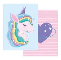 Greeting card with colorful magic unicorn and heart