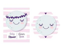 Baby shower invitation card set with cute moon vector