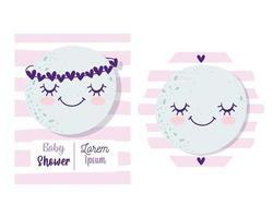 tarjeta de invitación de baby shower con linda luna vector