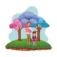 Family outdoors cartoon character portrait