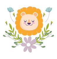 caricatura, bebé, león, cara, con, flores vector