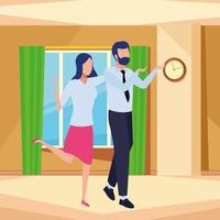 Successful business partners faceless cartoons indoors vector