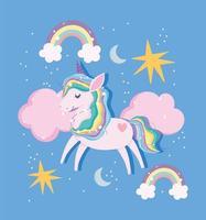 unicornio mágico con arcoiris y elementos celestiales.