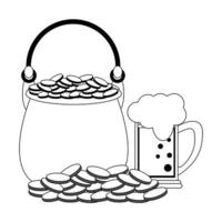 Saint Patrick's Day pot with coins and beer vector