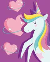 Cartoon magic unicorn with hearts