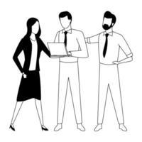 Compañeros de trabajo de negocios con laptop en blanco y negro