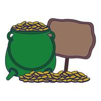 Saint Patrick's Day pot with coins and wooden sign
