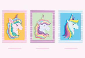 Set of greeting cards with colorful unicorn heads vector