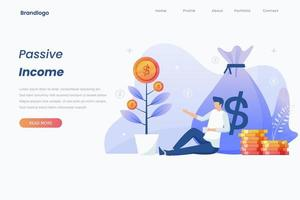 Passive income landing page concept vector
