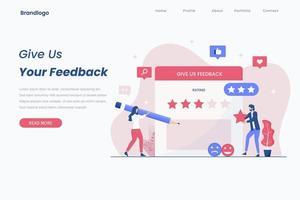 Online feedback landing page concept vector