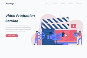 concepto de página de destino de producción de video vector