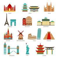 conjunto de iconos de viajes emblemáticos vector