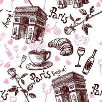 Hand drawn Paris seamless pattern vector