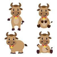 Cute cow cartoon character set