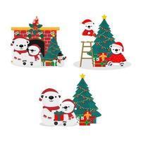 Cute Bears in Christmas theme set vector